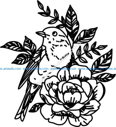 Floral pattern and laser engraving birds