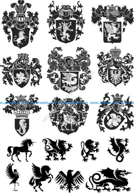 Heraldic Design Lions And Shield