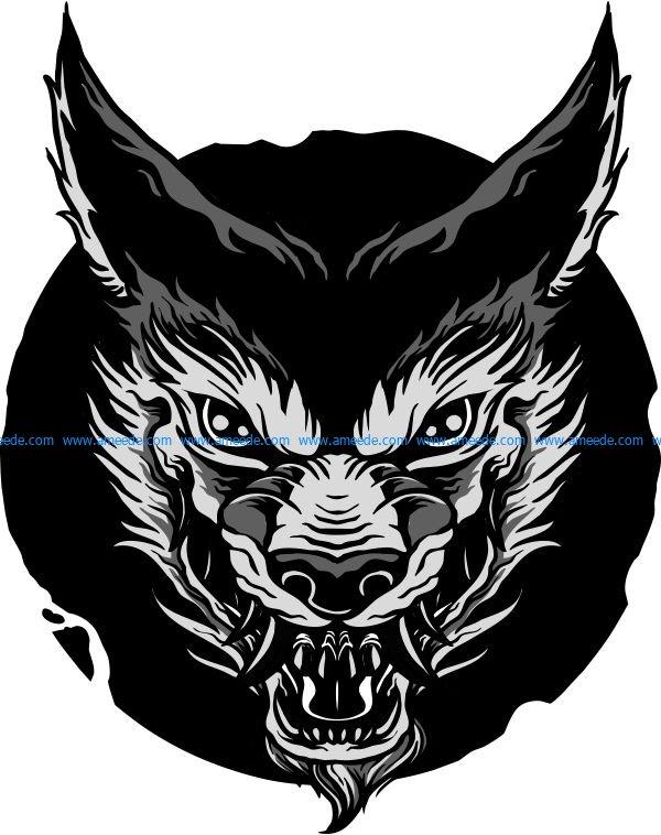 Image printed angry wolf