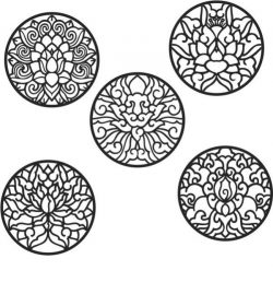 Free design vector file download for CNC and Laser Lotus ornament circle