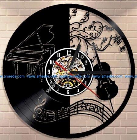 Piano and Violin Vinyl Wall Clock Laser Cut Template