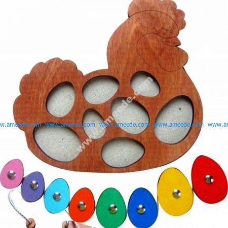 Puzzle children's chicken with eggs