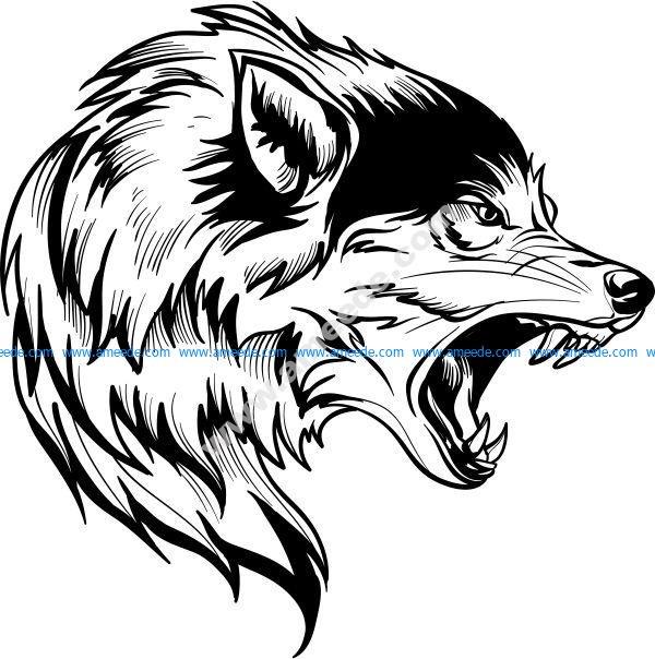 Snow wolf head