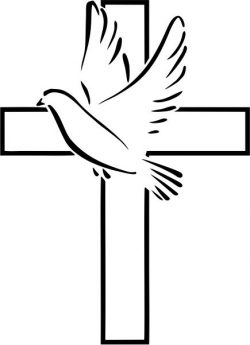 The cross and the dove carry a peace symbol