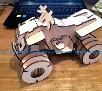 The four-wheel motorcycle is made of wood