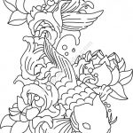 Vector engraving pattern for carp and lotus