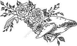 Whale and laser flower engraving