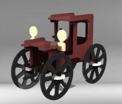 Wooden vintage car model