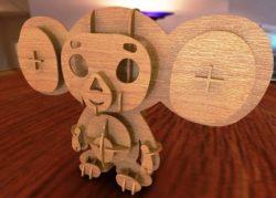wooden 3d monkey