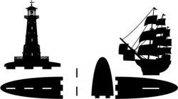 bookshelves lighthouse and ship