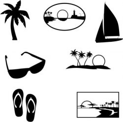 collection of beach-themed drawings