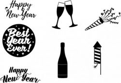 corel drawing design themed happy new year