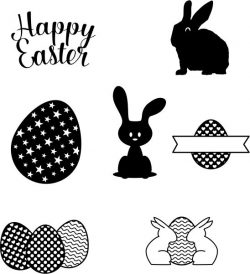 drawings of objects and decorations for Easter