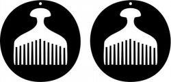 earring shaped circular design with an ancient comb