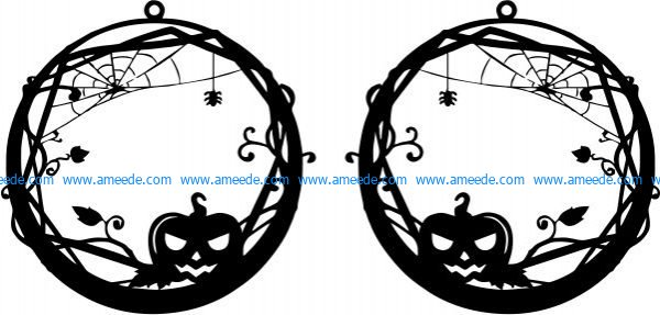 earrings shaped pumpkin design with halloween pumpkin theme