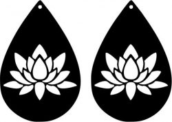 earring shaped teardrop shaped with lotus flower