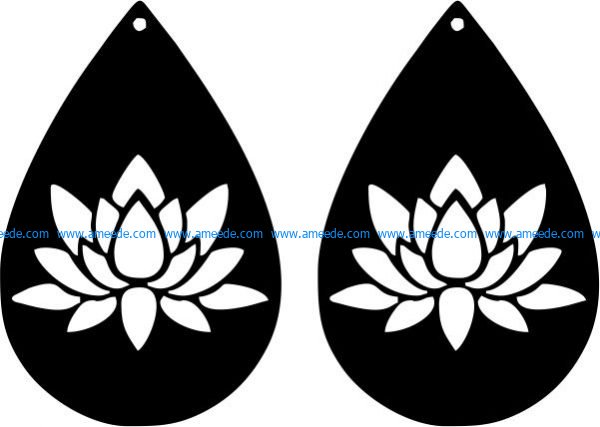 earrings shaped teardrop shaped with lotus flower