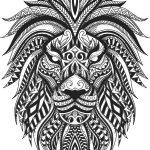 floral lion vector