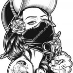 girl with gun vector art