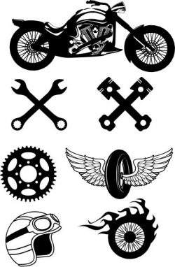icons for those who love to travel on a motorbike