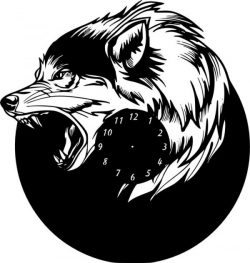the wall clock is shaped like a fierce wolf