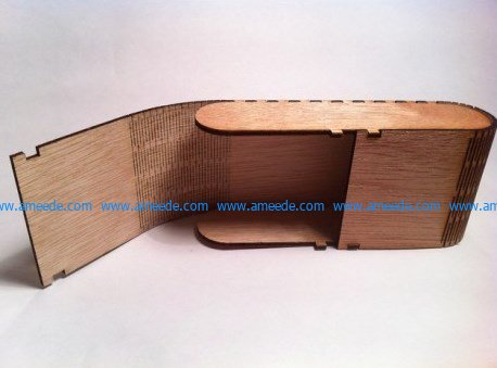 wooden box with eyeglasses