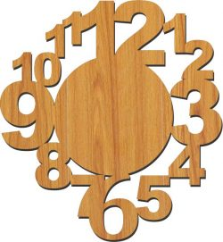 12 number wall clock file cdr and dxf free vector download for Laser cut plasma