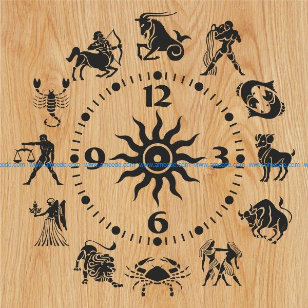 12 zodiac clock file cdr and dxf free vector download for Laser cut plasma