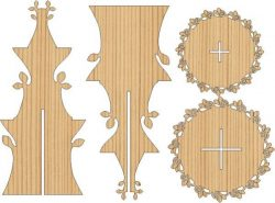 2 story flower display shelf free vector download for Laser cut CNC