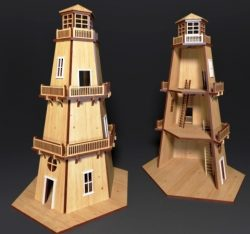 3D Lighthouse puzzle file cdr and dxf free vector download for Laser cut CNC