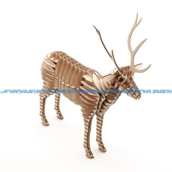 3d deer assembly model file cdr and dxf free vector download for Laser cut CNC