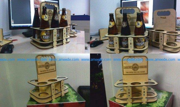 6-bottle beer basket file cdr and dxf free vector download for Laser cut CNC