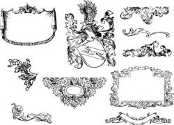 Baroque decorative motifs file cdr and dxf free vector download for print or laser engraving machines