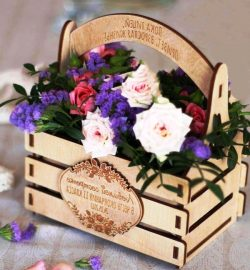 Basket of flowers file cdr and dxf free vector download for Laser cut CNC