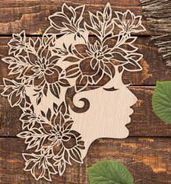 Beautiful girl with wreath file cdr and dxf free vector download for Laser cut Plasma file Decal