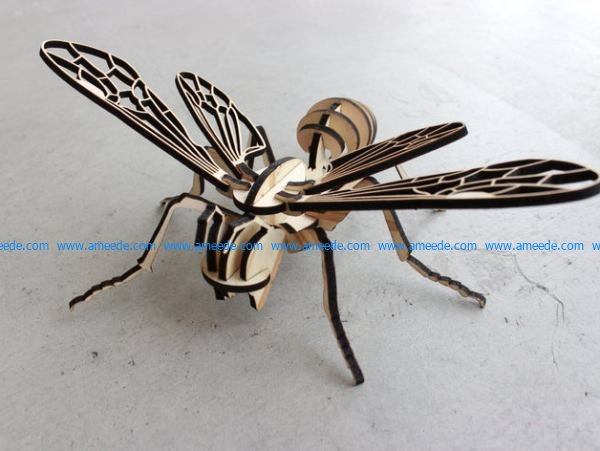 Bee assembly model file cdr and dxf free vector download for Laser cut CNC