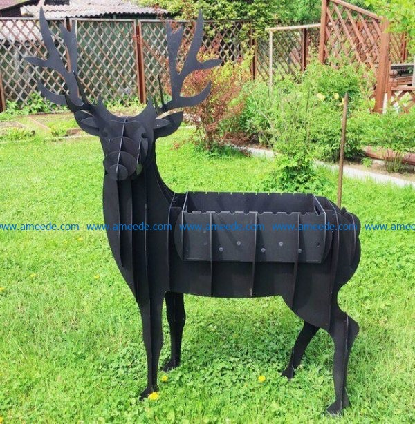 Black deer assembly model file cdr and dxf free vector download for Laser cut CNC