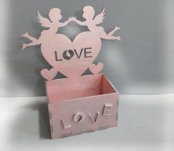 Box with Angels Love Heart file cdr and dxf free vector download for Laser cut CNC
