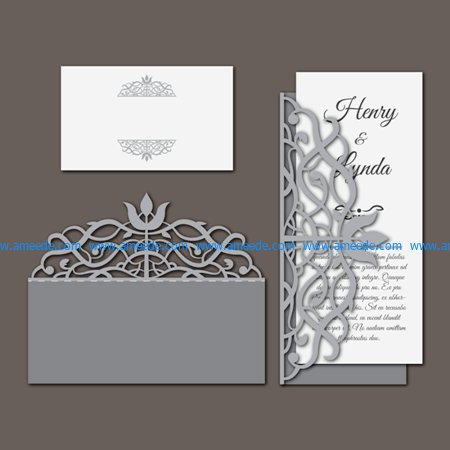 Card wedding invitation set file cdr and dxf free vector download for Laser