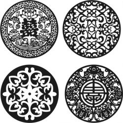Chinese pattern decorative circular pattern file cdr and dxf free vector download for Laser cut CNC