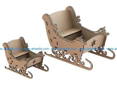 Christmas Sleigh file cdr and dxf free vector download for Laser cut CNC