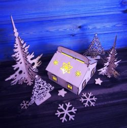 Christmas house model file cdr and dxf free vector download for Laser cut CNC