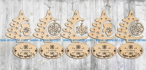 Christmas tree decorated for christmas day file cdr and dxf free vector download for Laser