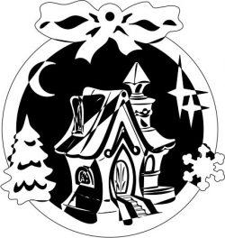 Christmas tree decoration house file cdr and dxf free vector download for Laser cut Plasma file Decal