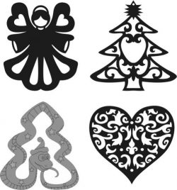 Christmas tree ornaments file cdr and dxf free vector download for Laser cut CNC