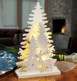 Christmas tree-shaped night light file cdr and dxf free vector download for Laser cut CNC