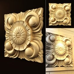Chrysanthemum square file FBX and max vector free 3d model download for CNC or 3d print