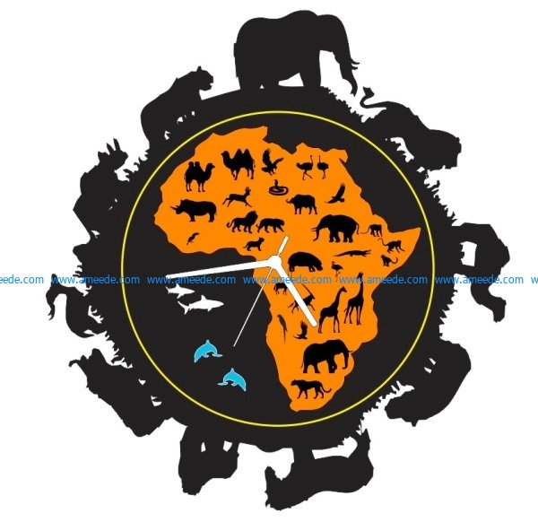 Clock animals from the jungle of africa free vector download for Laser cut plasma