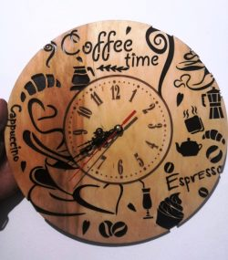 Coffee wall clock file cdr and dxf free vector download for Laser cut CNC