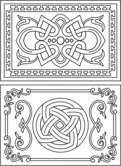 Decorative frame with overlapping motifs file cdr and dxf free vector download for Laser cut CNC